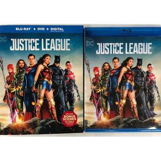 JUSTICE LEAGUE BLU RAY + DVD WITH SLIPCOVER SLEEVE