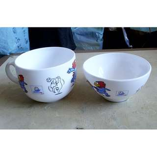 全新98年世界杯版瓷碗及湯碗各一隻