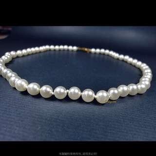 🚚 珍珠林~展示品特價出清商品~7MM高級琉璃珍珠項鏈.專業珠寶作工#100