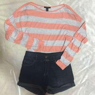 Forever 21 Neon Peach & White Stripes Sweater