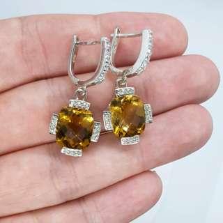 Citrine Earrings, 925 Sterling Silver, Wealth & Prosperity Stone