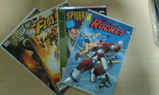 Retro Rocket,Spiderman,Annihilation and Flash comic. New and first issue n print. Price for one issue.