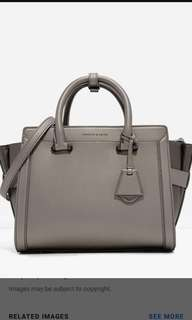 Charles & Keith Trapeze Bag Pewter