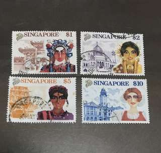 Singapore stamps 1992 tourism high value set $1-$10