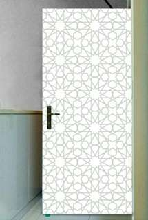 White Grey Islamic Moroccan Door Sticker