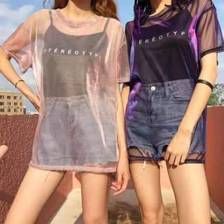 Ulzzang two Piece metallic sheer mash Tshirt dress + sleeveless top