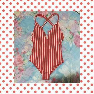 PRELOVED One-piece Swimsuit Red Stripes