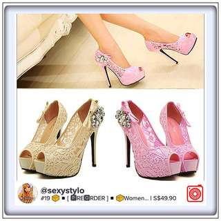 #19 📦◾[ 🅿re🅾rder ]◾📦Women Lace Hollow Out Heel High Peep Toe Pump Classic Sheos