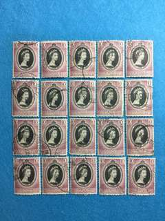 20pcs Malaya Singapore 1953 QE2 Coronation Issue Used Duplicates