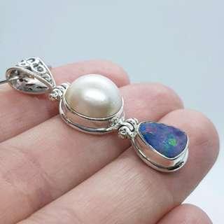 Mabe Pearl & Australian Opal Pendant, Sterling Silver, NEW