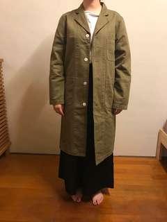 Beams深卡其綠長版外套