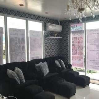 Sofa, chandelier & display cabinet for sale