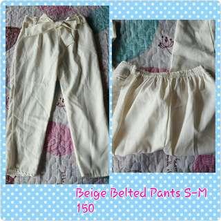 Cream Belted Slacks Pants