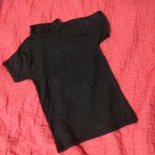 DARK GRAY TURTLE NECK TOP (FITTED)