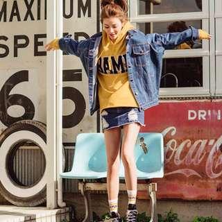 🚚 二手衣服 便宜出售 LOVFEE 許路兒 聯名 小鹿斑比 春夏裝 牛仔刷破 短裙 褲裙 內有褲子