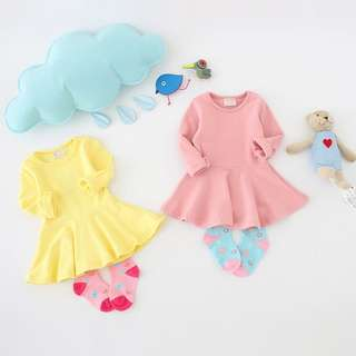 🚚 [PRE-ORDER] Baby Girls Solid Catton Long Sleeve Dresses