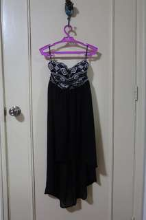 Forever 21 high low tube top dress in black chiffon and aztec print