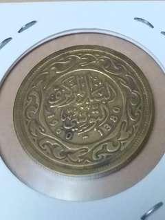 非洲突尼斯1960年100米利姆硬幣