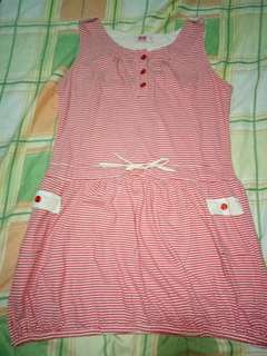 Cute Red, and White stripes Dress For kids
