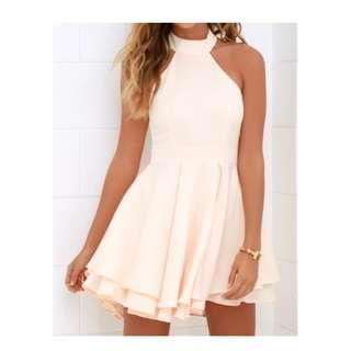 Peach Halter Skater Dress