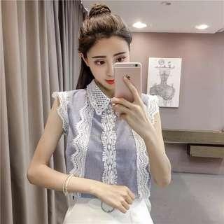 Han Fan summer loose lace stitching chiffon shirt sleeveless shirt