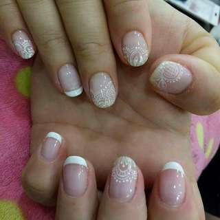 Gel nails lace art with French + transparent base