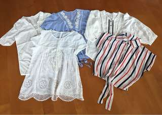 棉質/雪紡上衣  Cotton/Chiffon Shirt Blouse $50@2