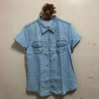 Collared Denim Polo / Top