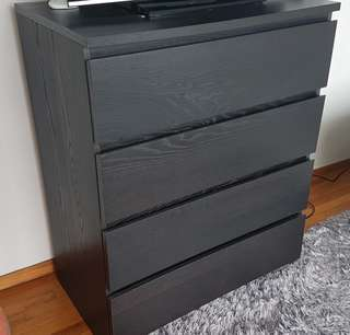 Black/Brown Chest of 4 Drawers *avail aft 20 June 18