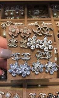 Chanel閃石水晶珍珠耳環
