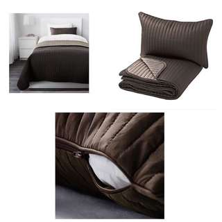 Ikea - Karit Bedspread And Cushion Cover, Brown (180x280cm)