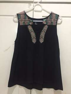 Forever 21 Black Embroidered Sleeveless Top