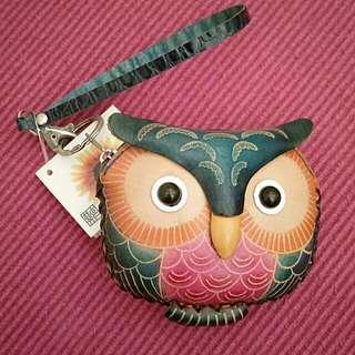 真皮 手製 貓頭鷹 散子包 鎖匙扣