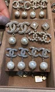 Chanel 珍珠 閃石耳環earring