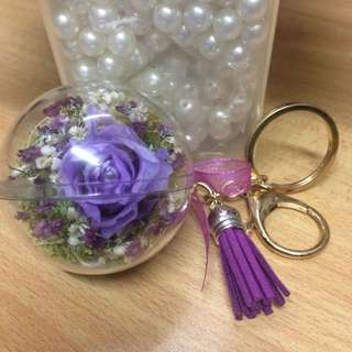 Crystal Ball Preserved Flower 🌹 Hanging Key Chain