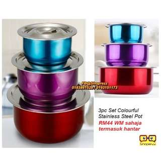 3pc Set Colourful Stainless Steel Pot