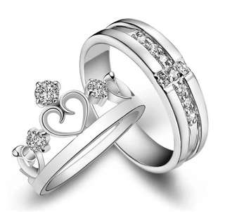 Silver Engagement Gift Couple Ring