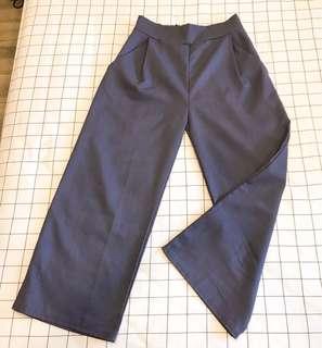 🚚 紫藍色 雪紡 寬褲