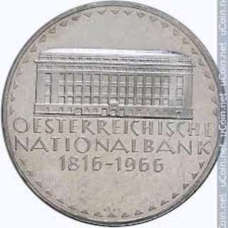 150th Anniversary of the National Bank 50 Schilling Silver Coin