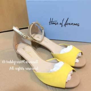 Yellow Suede Leather Open Toe Strappy Sandals 夏日黃色高跟涼鞋