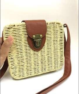 Rattan Bag   Sling Bag   Premium Square Beach Bag