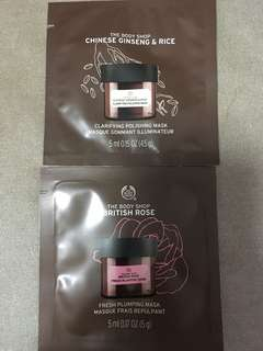 Body shop British rose mask / Chinese ginseng & rice mask