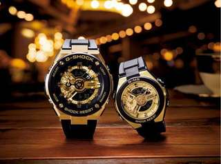 Casio Baby G & G-Shock Couple Watch Model (Gold with Black Series)