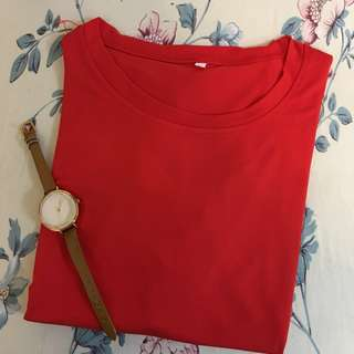 100%new! Japan Lady Cotton red T-shirt 日本全新純棉上衣