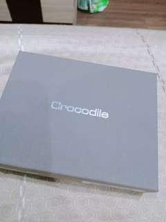 正品Crocodile 自然摔紋真皮名片夾