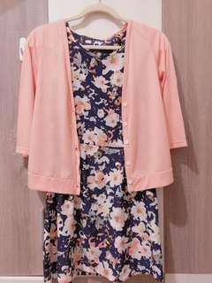 🚚 雪紡滿版花朵洋裝+棉質小外套
