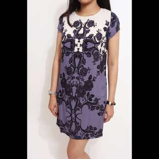 (KD-1872) DOROTHY PERKINS Dress- ungu, putih, hitam ( ORI)