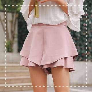 荷葉邊粉紅色裙褲