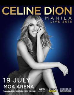 ❗️❗️❗️SELLING GEN-AD TICKET for Celine Dion's Concert in MOA ARENA July 19 (1st Day Concert)