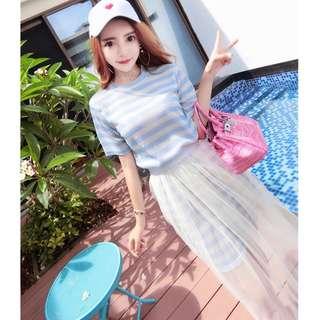 💋 2PCS/ Striped Tees + Lace Skirts